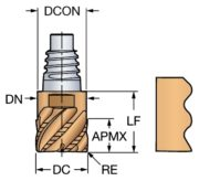 CoroMillⓇ 316 solid carbide head for roughing with chip breaker 316-10SM545-10004K 1030